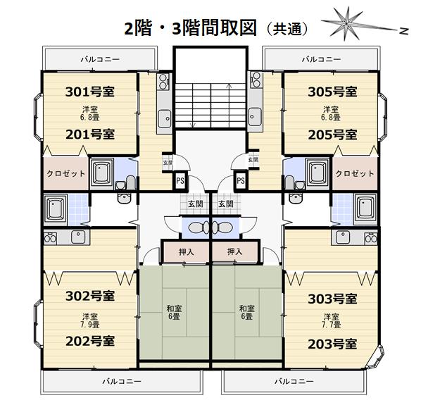 2・3階間取図